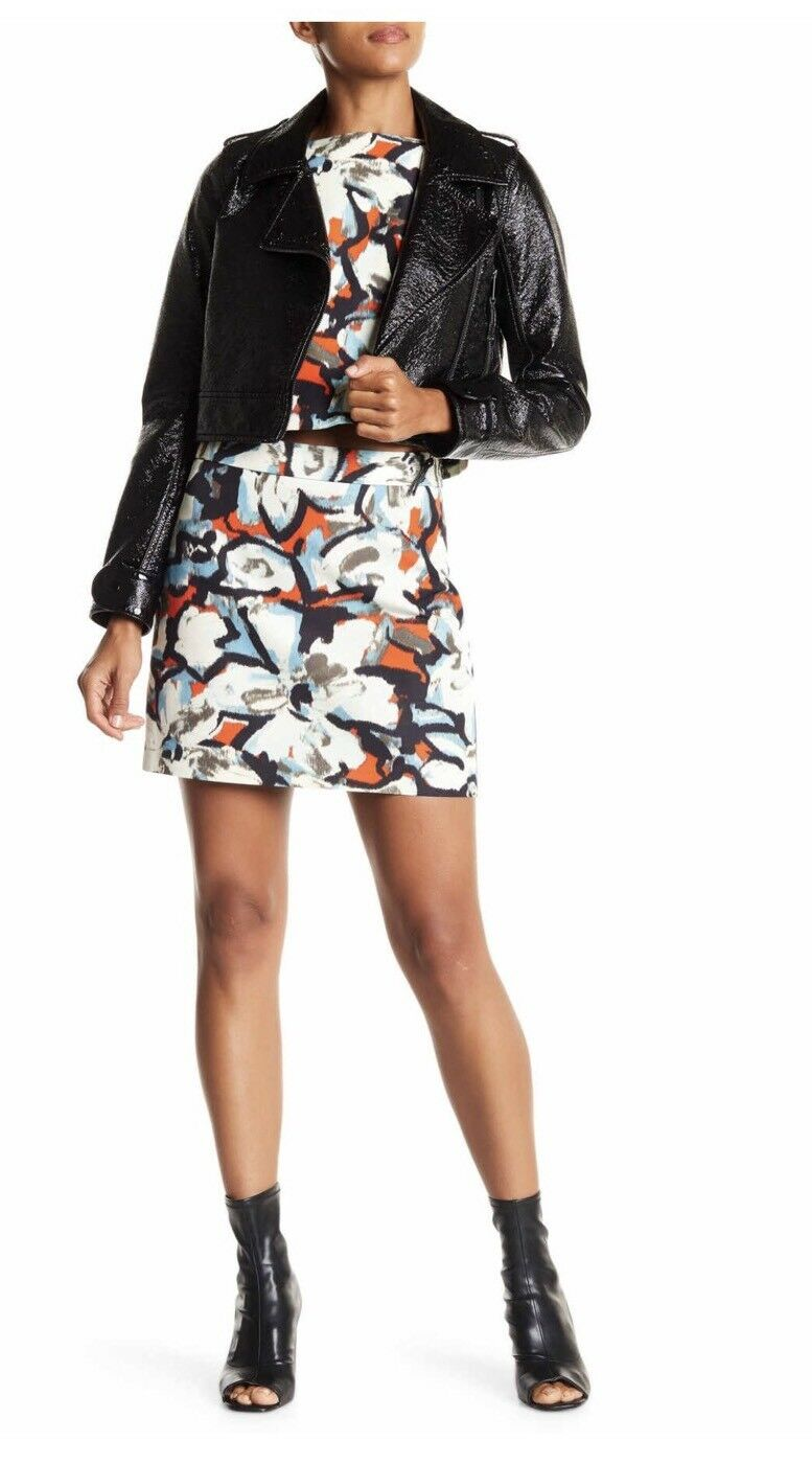 NWT Milly Modern A Line Floral Printed Mini Skirt Sz 6 Multi