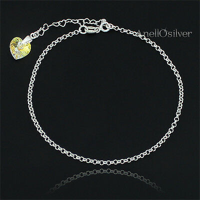 Fine Jewelry Sterling Silver 925 Foot /leg Bracelet With Swarovski Element's Anklet Bangle