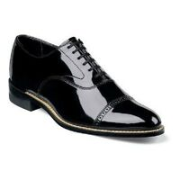 Stacy Adams Concorde Black Cap Toe Men's Patent Tuxedo Shoes Shiny Lace 11003