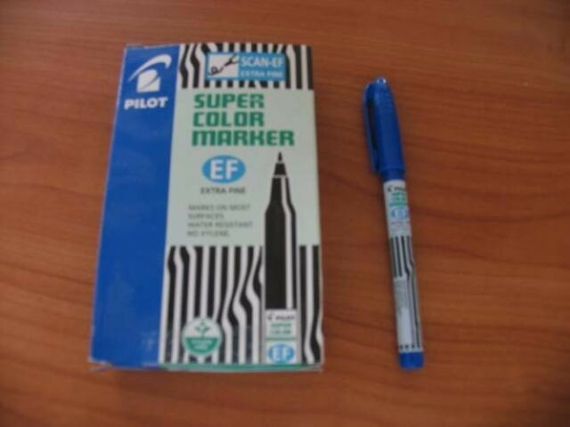 PILOT SCAN-EF EXTRA FINE PERMANENT MARKERS PENS BULLET POINT BLUE  ONE EACH