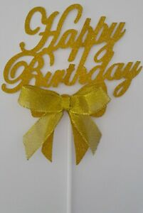 GOLD-RIBBON-BOW-039-HAPPY-BIRTHDAY-039-CAKE-TOPPER-GOLD-GLITTER-CAKE-TOPPER