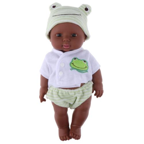 Umwerfbare afrikanische Babypuppe weiche Vinyl neugeborene schwarze Puppe in