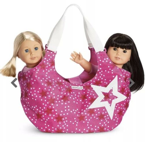 New American Girl Starry Tote~Pink//White Carrier Travel Bag Storage Holds 2 Doll