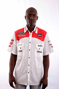 LEE-Spidi-Elf-Casual-Shirt-Mens-Biker-Racing-White-Buttons-Cotton-Italy-L-RARE