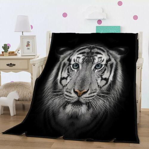 """Animal Tiger Lion Throw Blanket 59/""""x78/"""" Fleece Flannel Rug for Bed Couch Sofa"""