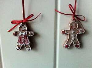 Gisela-Graham-Christmas-Tree-Decorations-2-x-Mini-Gingerbread-Man-Boy-Girls