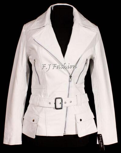 Diaz Women's Real Sheep White Stylish Leather Retro Jacket Ladies Soft Nappa wSFaqwg