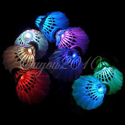 Dark Night Colorful LED Badminton Feather Shuttlecock Shuttlecocks Lighting New