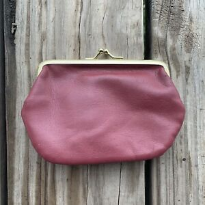 Vintage-Burgundy-Maroon-Two-Compartment-Coin-Purse-Kiss-Lock-Closure