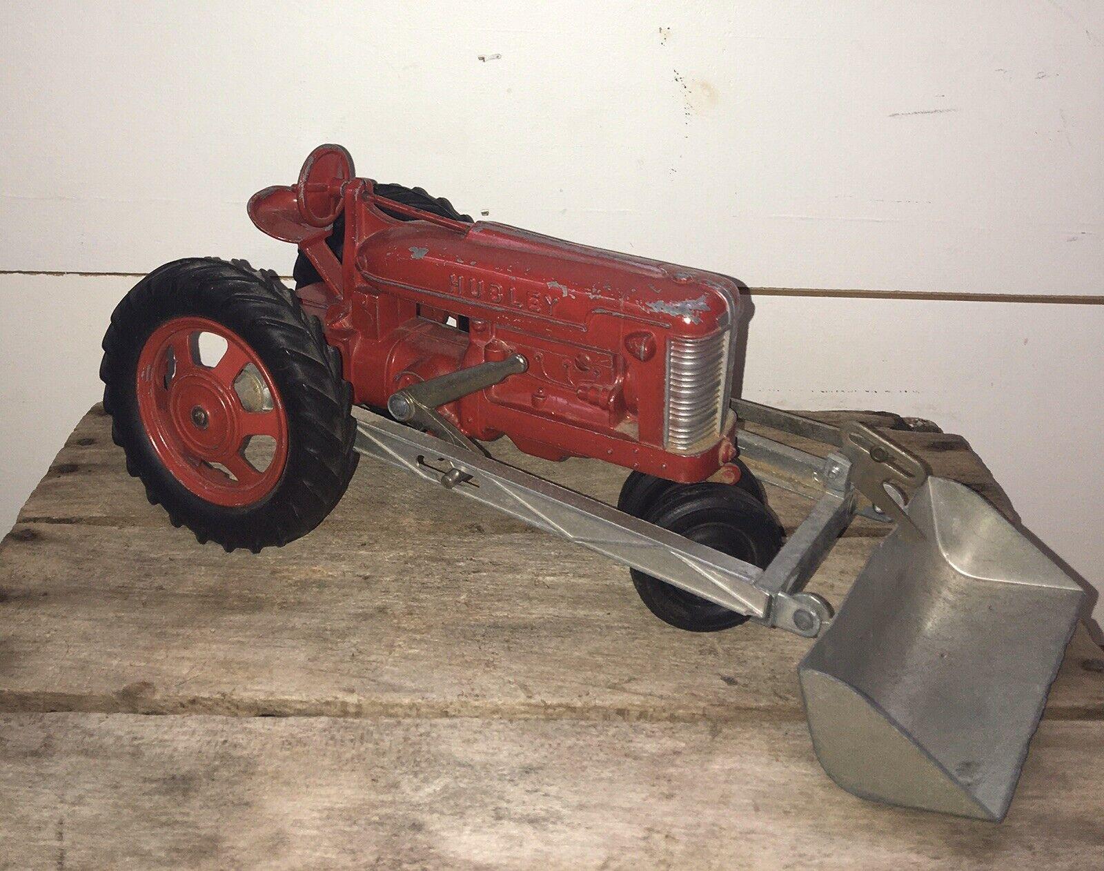 Vintage HUBLEY Kiddie Toy rot Farm Tractor W  Front End Scoop Loader Plow  500