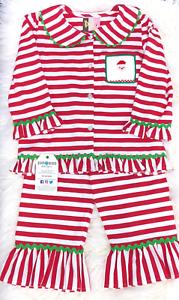 SANTA Christmas Smocked Girls Knit Set Red White Stripe Multiple Sizes BNWT