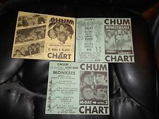 Monkees Set of 3 1967 Toronto Radio Station CHUM Charts Featuring Upcoming Conce