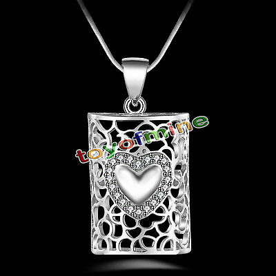 New Women Men 925 Sterling Silver Crystal Heart Pendant Necklace Chain Jewelry