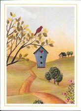 Small Blank Note Card NEW EMBOSSED Kittens Tabbies Window Blue Bird Pansies