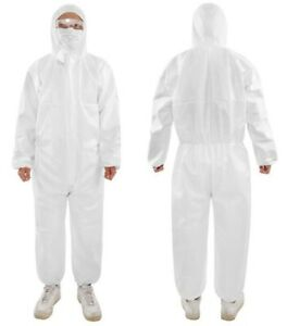Coveralls Suit Washable Isolation Gown with Hood Waterproof Anti-Static Protective Overalls White L