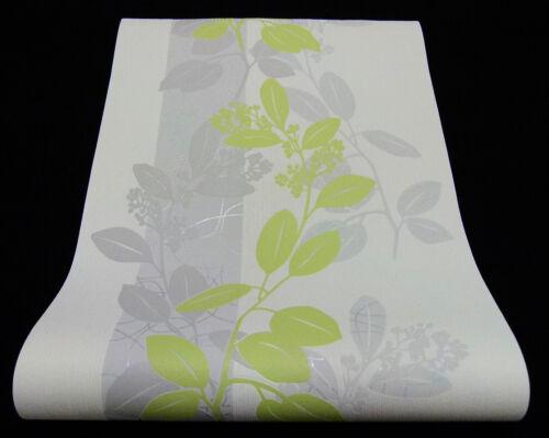 13235-30-519 Vliestapete schickes Blätter-Design weiß grau grün mit Glanzeffekt