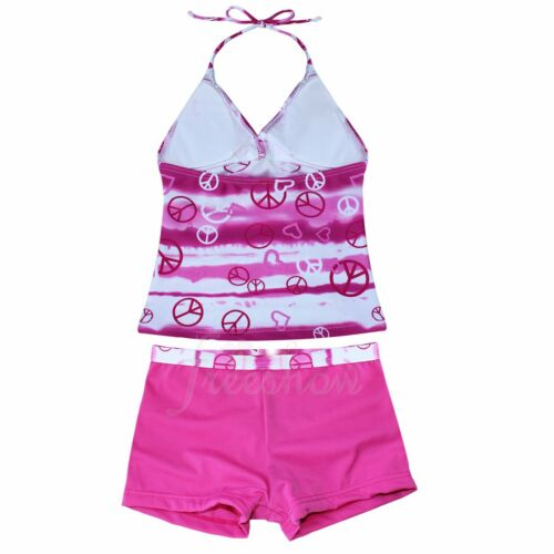Kids Girl Two Piece Halter Tankini Set Swimwear Swimsuit Bathing Suit Size 8-16T