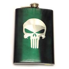 Punisher Skull Green Symbol Logo Engraved 8oz Stainless Flask Liquor FEN-0037