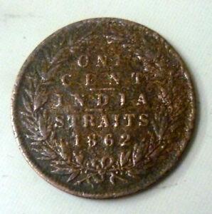 Straits-Settlement-1862-Queen-Victoria-1-Cent-Bronze-039-Fine-039