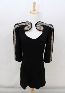 SASS-amp-BIDE-Glam-Black-Gold-BEADED-EMBROIDERY-Playsuit-Romper-L-K-AUS-8-XS