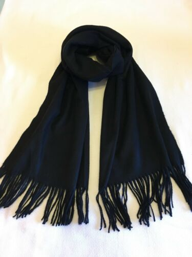NEW CASHMERE Blend Winter Scarf Black Soft and Thick material