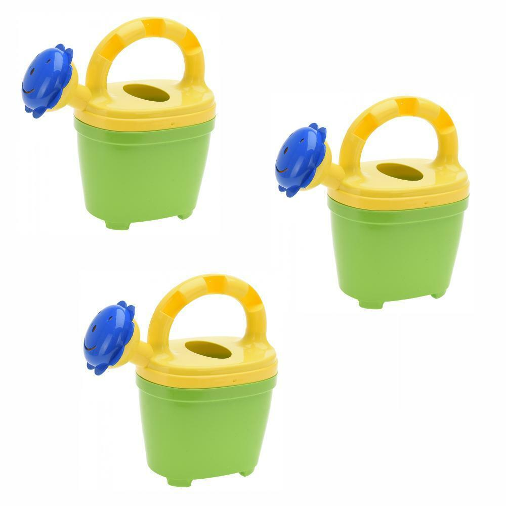 Set of 3 Plastic Kids 300ml Watering Can with Flower Shape Rose