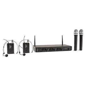 Microphone-Sans-Fil-a-Portee-de-50m-Micro-Casque-HF-4-Canaux-2-Micros-a-Main