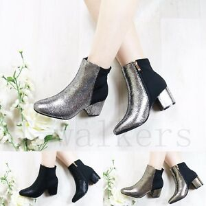NEW-WOMENS-LADIES-METALIC-ANKLE-BOOTS-CHUNKY-LOW-MID-BLOCK-HEEL-WORK-SHOES-SIZE