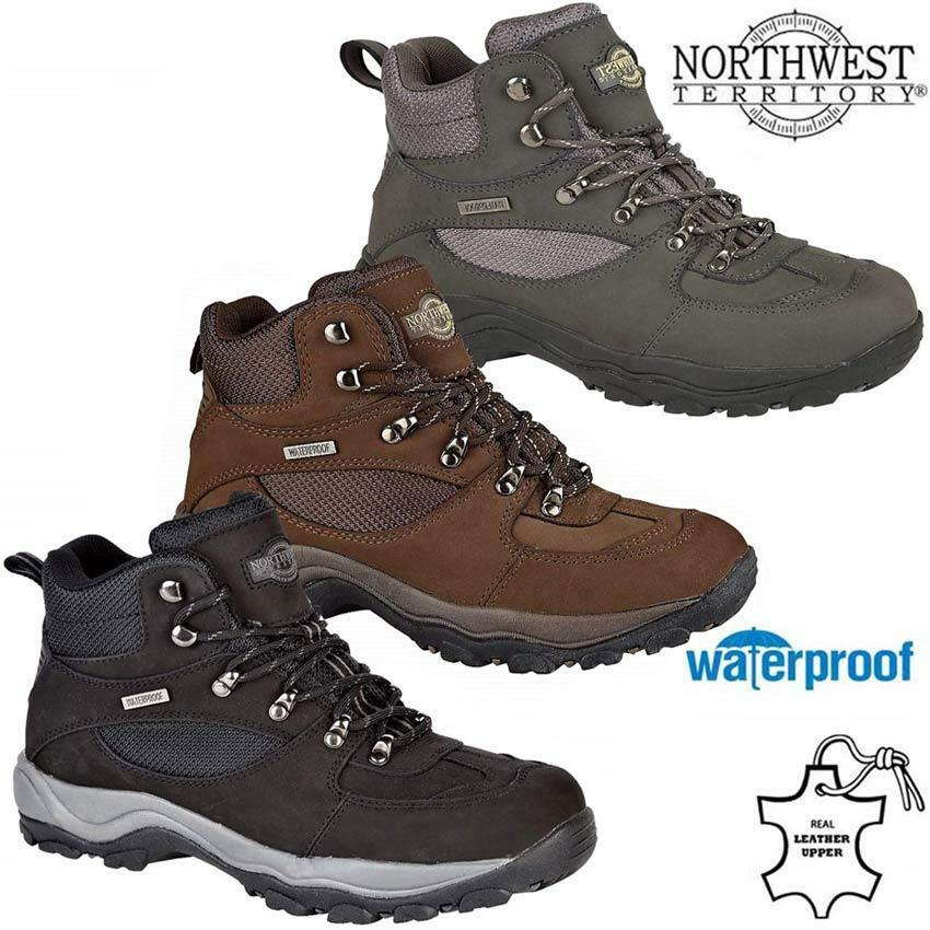 Mens NORTHWEST Leather Walking Hiking Waterproof Bnkle Boots Trainers Shoes Size