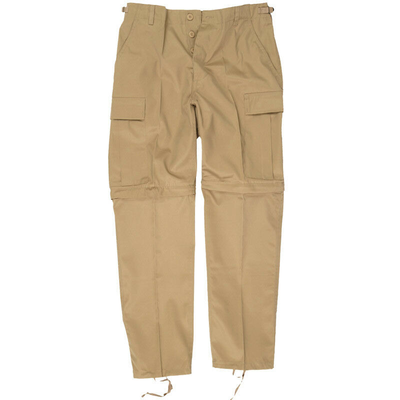 Zip-Off BDU Style Cargo Combat Mens Fishing Trousers Shorts Khaki Beige S-XXL