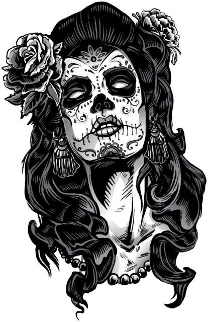 Decorative Ornamental Sugar Skull Silhouette Sticker