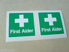 FIRST AIDER Car Van Helmet Construction Builder Stickers Decals 2 off 50mm