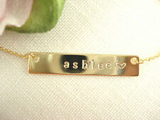 Hand Stamped Gold Bar Necklace 1-2 letter...Personalized Name plate bar jewelry