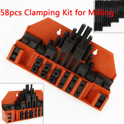 58Pcs Clamping Nuts Step Block for Drilling Milling Machine M12 Stud 14mm Slot