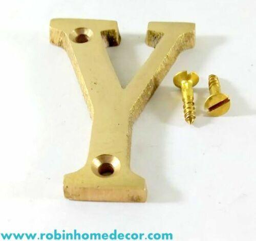 Alphabet /'Y/' brass Letter Design Door House Address With 2 Screws 4Inch 100 MM