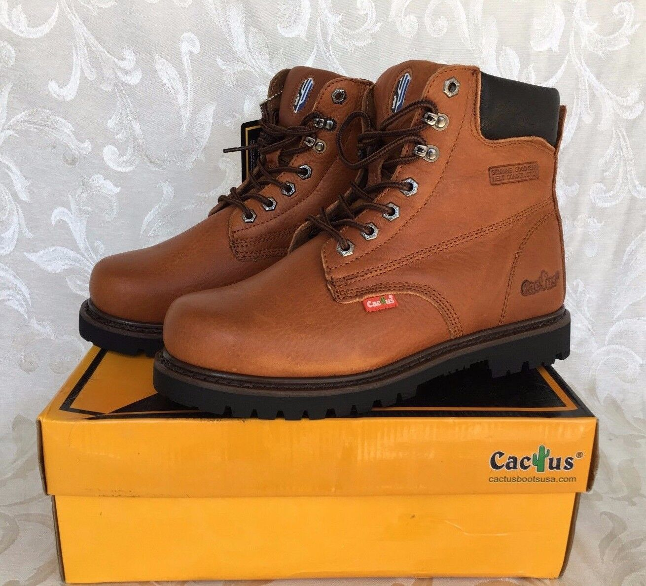 Cactus Men Men Men Light braun 6  Leather Work Stiefel Oil Resistant 627 Größes Comfort Fit 7fd472