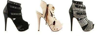 Kate Ferguson Leather Heels White Black Snake High Heels Boots Size 6 6.5 7 7.5