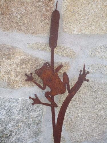 Precious Rust Frog Garden Patio Flower Bed Pond Reeds Pot Male Figure Sculpture