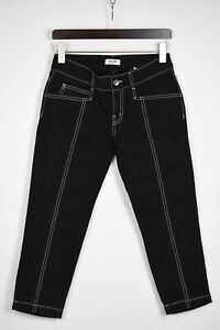MOSCHINO Jeans DONNA Women's W27 Black Embroidered Stretchy Capri Jeans 35793_GS