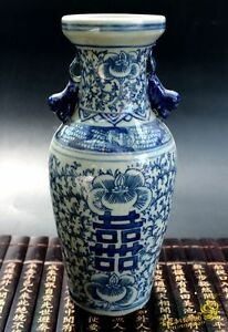 9-8-034-Collection-China-antique-Blue-amp-white-porcelain-Handmade-ornaments-vase