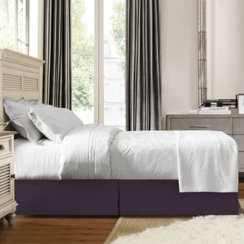 "Full Eggplant Premium Luxury Pleated Tailored Bed Skirt 14"" Drop Dust Ruffle"