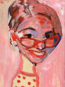 8x10 Print - Cute Girl with Pink Glasses Pink Hair Portrait Katie Jeanne Wood