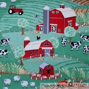 BonEful-Fabric-FQ-Cotton-Quilt-Green-Farm-Tractor-Red-Barn-Rooster-Pig-Cow-Scene