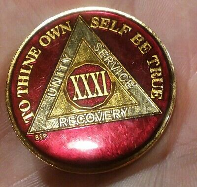 32 Year AA Sobriety Coin Chip Medallion Mandarin Red Enamel 32nd Year XXXII
