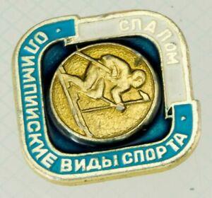 Olympic-Games-Badge-Soviet-Pin-Bras-Enamel-USSR-slalom-ski-skier