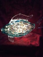 Bling Electric Lamp Aqua Angel Fish Decor Murano Style Warm White Leds