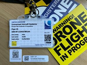 A2 CofC BUNDLE with Drone ID Card + 10 x Drone Operator ID QR Stickers + Lanyard