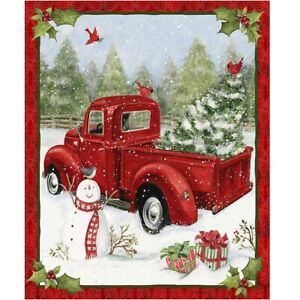 Fabric-Panel-Red-Truck-and-Snow-Man-Christmas-Fun-36-034-x-44-034-Xmas-Gift