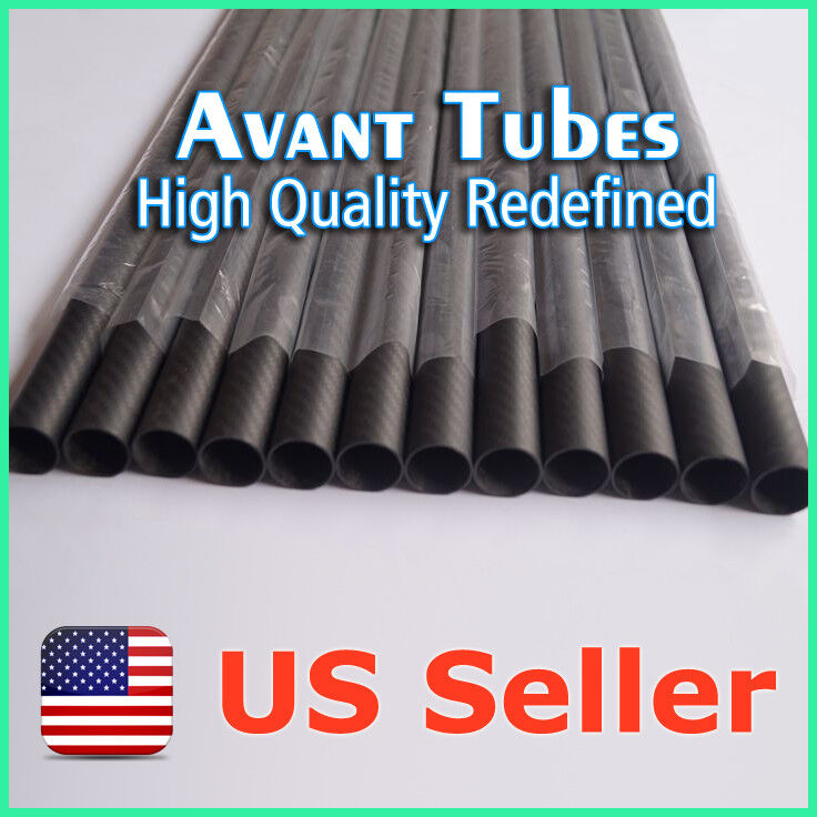 8pcs Matte 16mm OD x 15mm ID x 1000mm 3K Roll Carbon Fiber Tube Rod Quadcopter