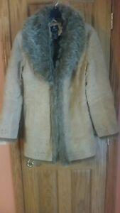 Coat Db medie marrone chiaro Dressy Taglie Fur Studio Beige Jacket Pelle scamosciata PrqrExT